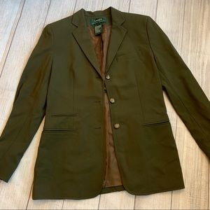 RALPH LAUREN Size 4 Wool Army Green Blazer